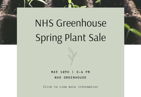 NHS Greenhouse Plant Sale flyer image