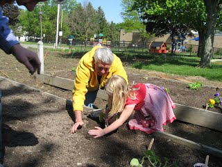 Child and Senior Citizen working together in a garden planting seeds