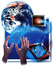 image of hands, computer and the earth