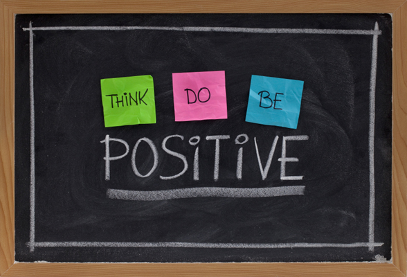 Image of a blackboard with the work positive on it