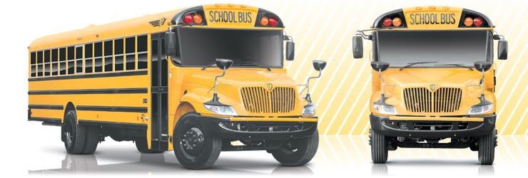 Images of school buses, side and front
