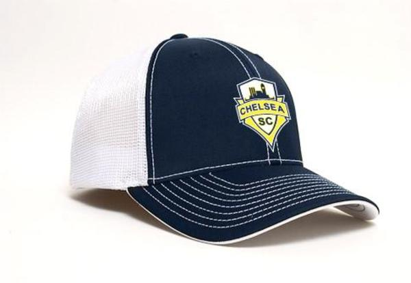 Blue and white hat with Chelsea Logo on the front