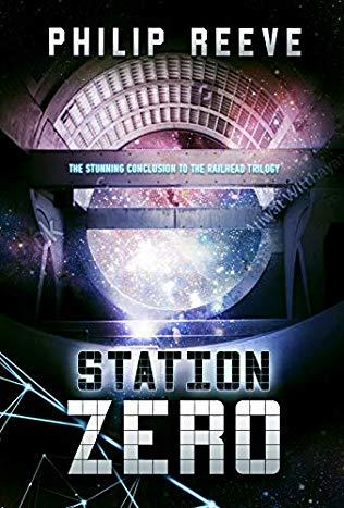 book cover image for Station Zero with futuristic tunnel and bridge with spots of light