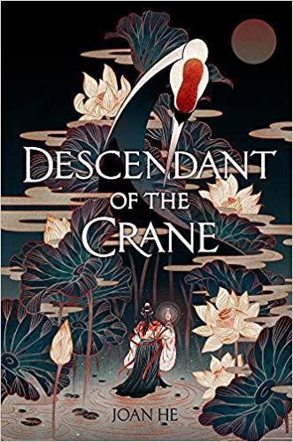 book cover image Descendant of the Crane with red headed crane, lily pads, and a woman's back holding a candle