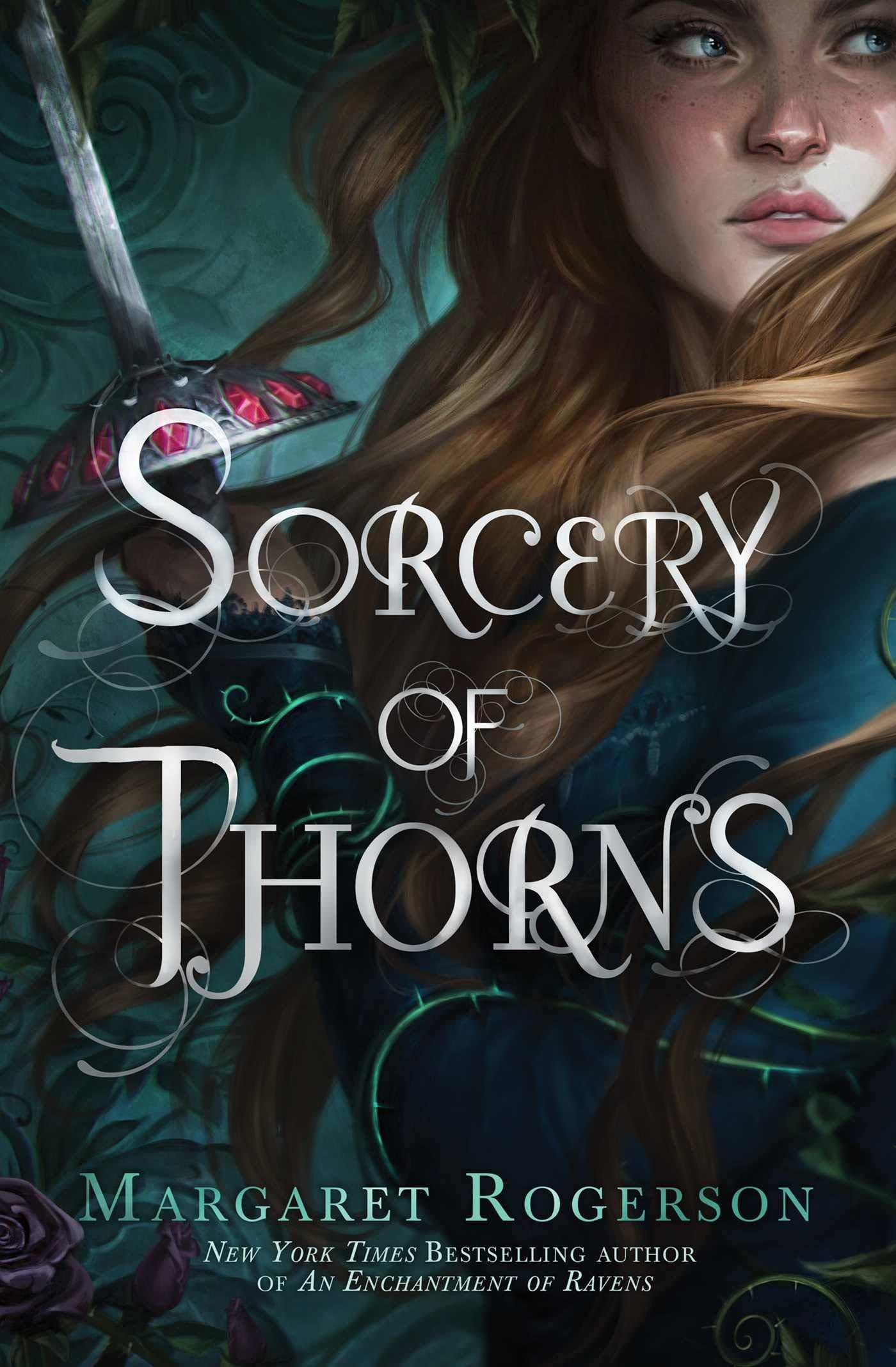 book cover image of Sorcery of Thorns with woman with holding sword