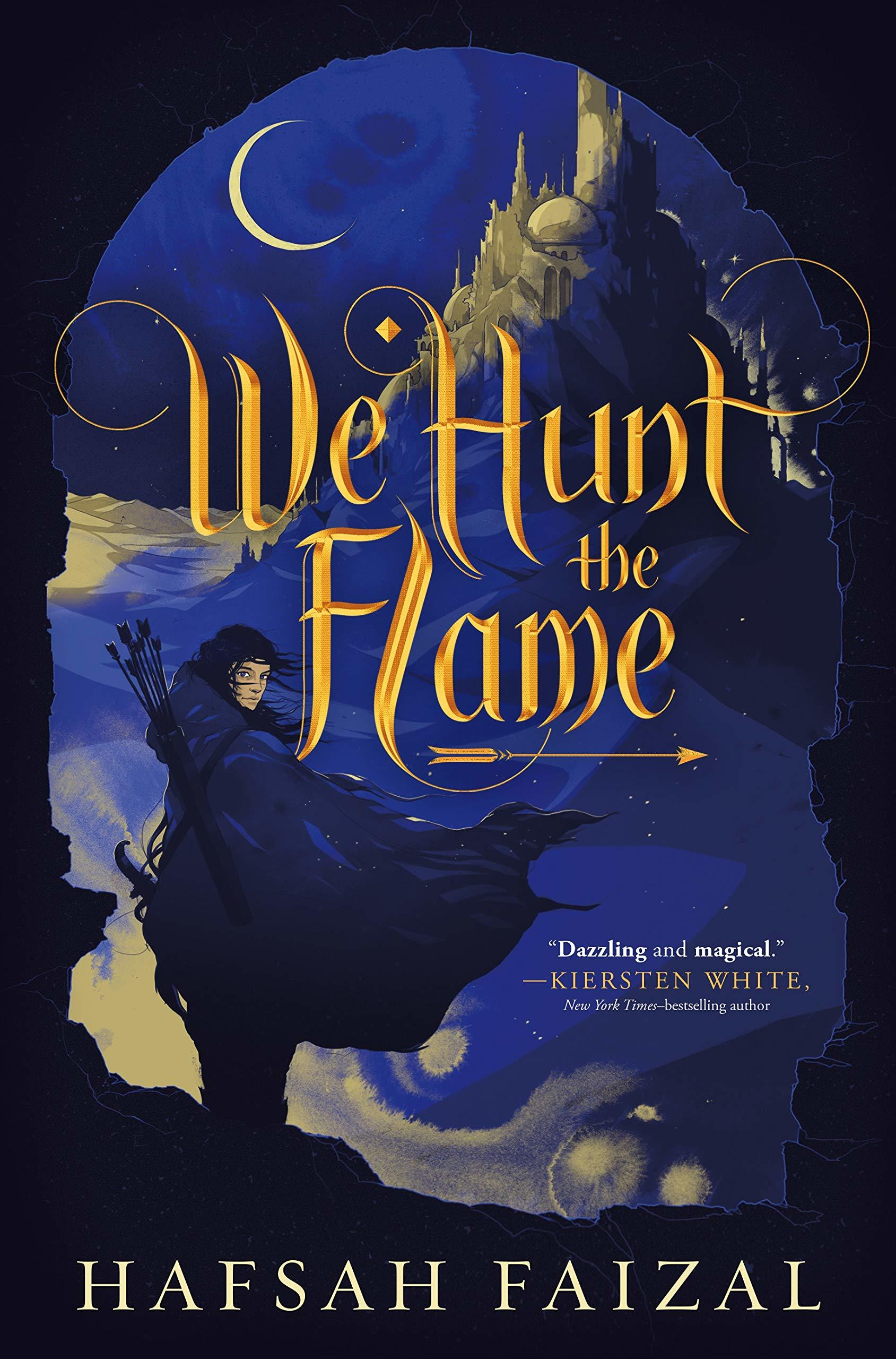 book cover image for We Hunt the Flame with image of moon and woman in flowing cape with bow and arrow