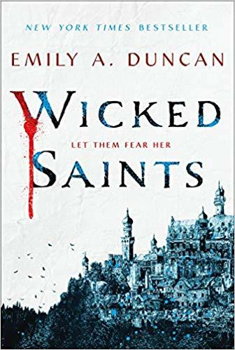 book cover image of Wicked Saints with a cathedral built up into a mountain