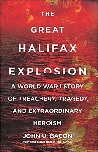 book cover image for The Great Halifax Explosion with image of red burning fire over water
