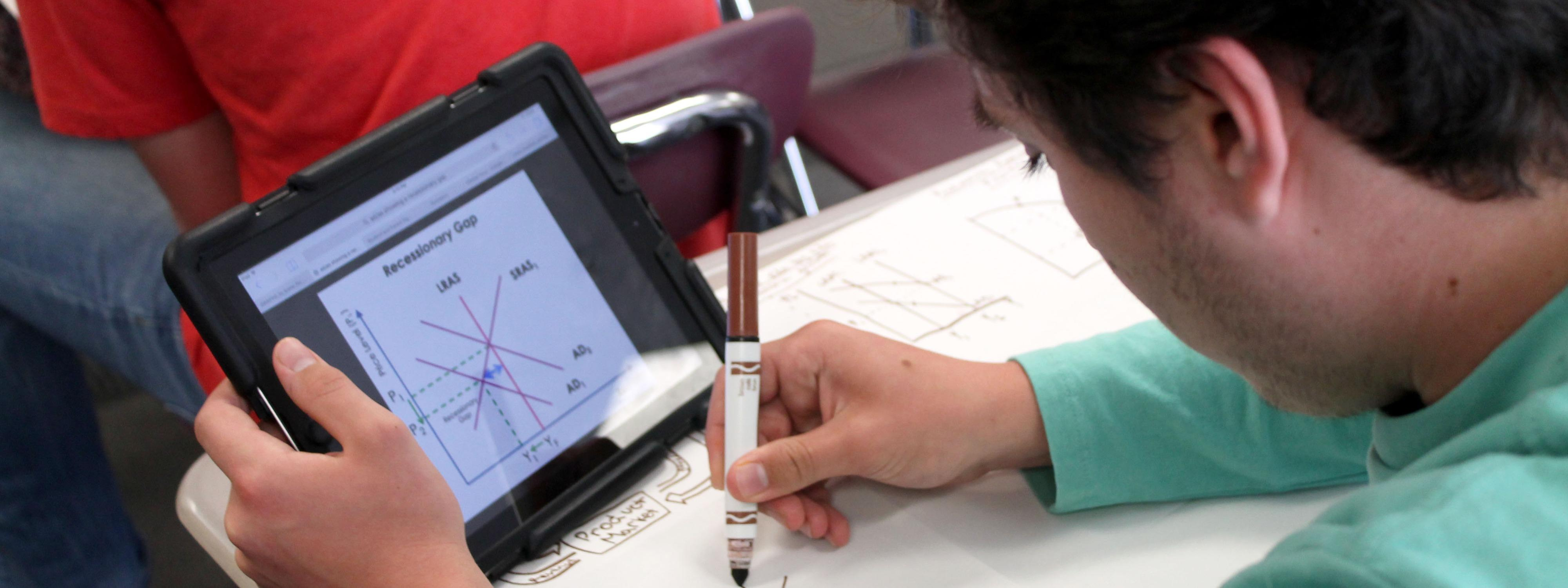 student using ipad and drawing a math diagram