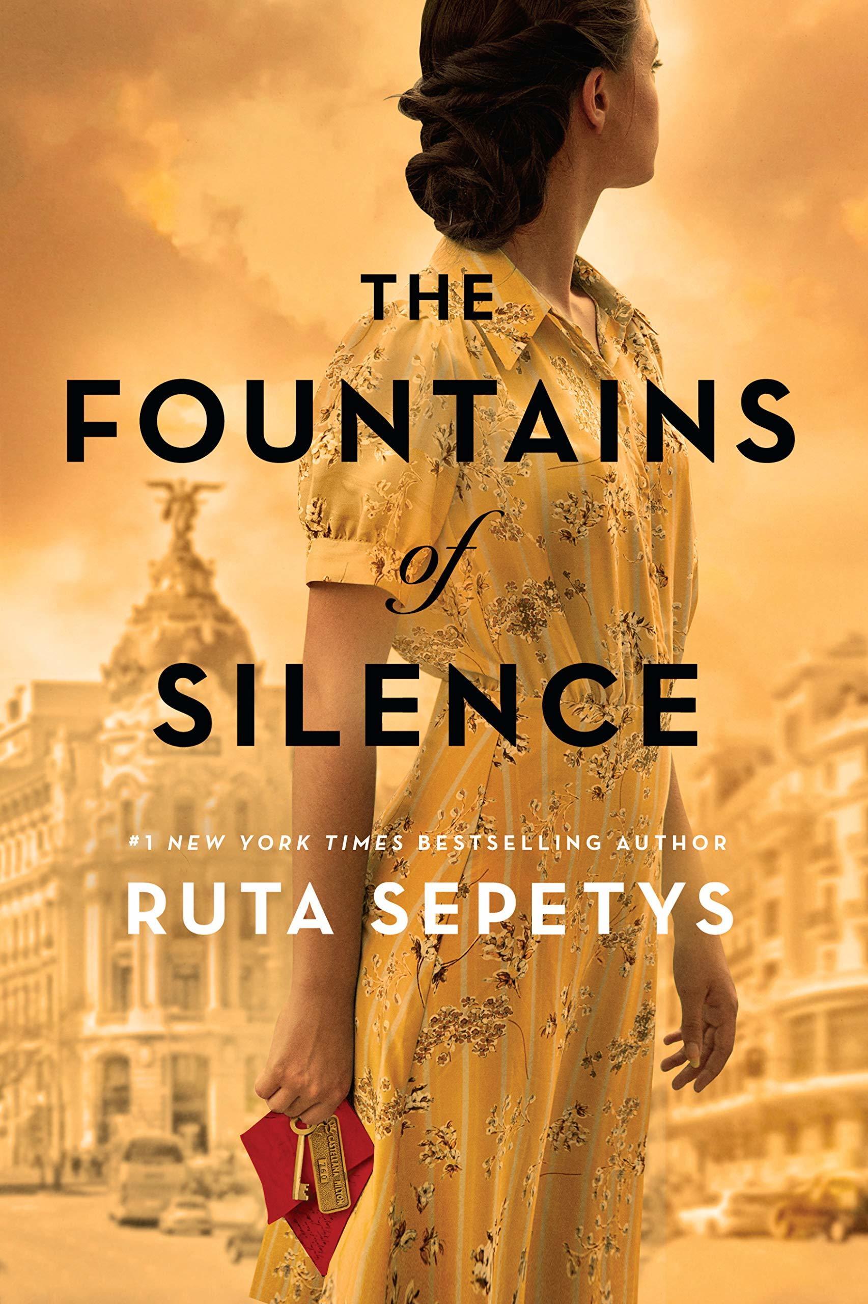 cover of The Fountains of Silence by Ruta Sepetys with girl's face turned away in yellow dress holding a hotel key and red envelope