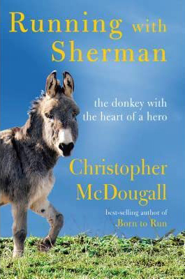 Running with Sherman book cover with a burro on green grass and blue sky