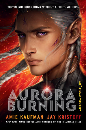 Aurora Burning book cover with white male with long white hair in braids and violet eyes and exploding orange behind