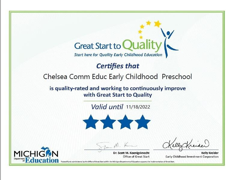 4 start rating certificate for Chelsea Community Preschool through Great Start To Quality