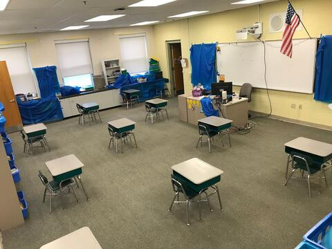 Socially distanced desks in the classroom