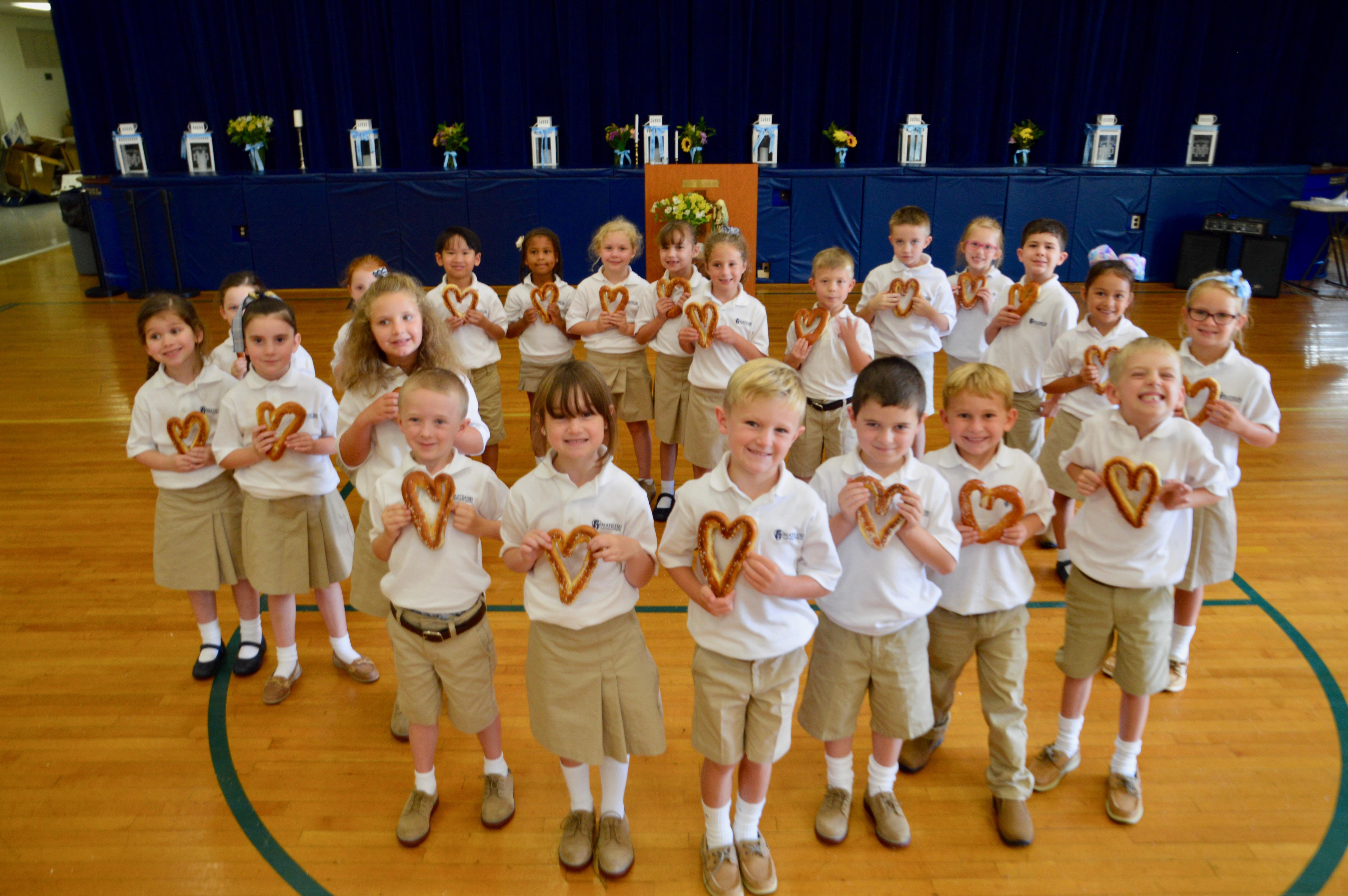 students with heart pretzels