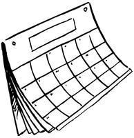 black and white sketch of blank calendar