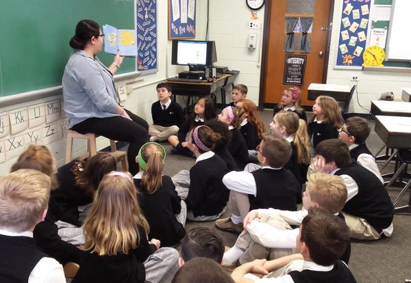 students listening to a story