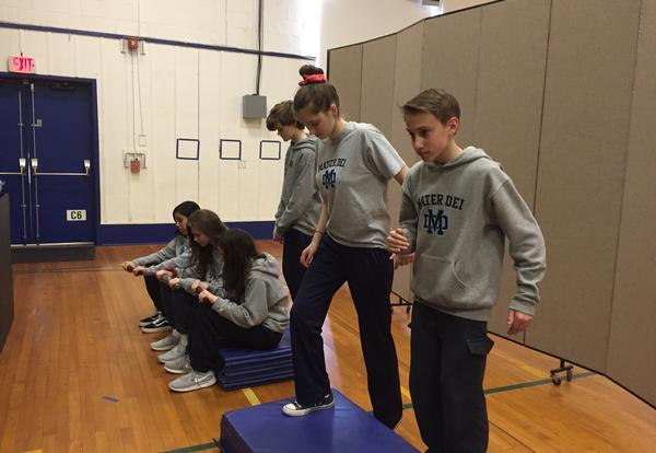 students checking their cardiovascular fitness