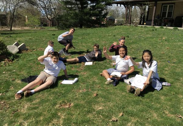 students on an egg hunt