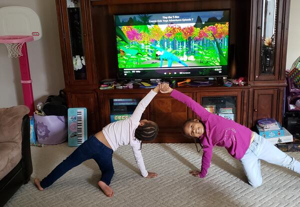 children doing yoga poses