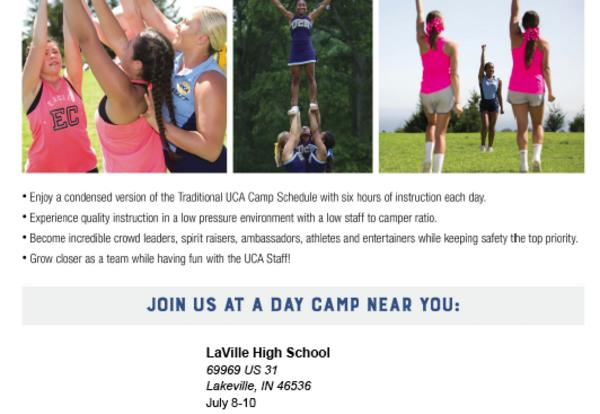 Cheerleading Day Camp, July 8-10, 2019