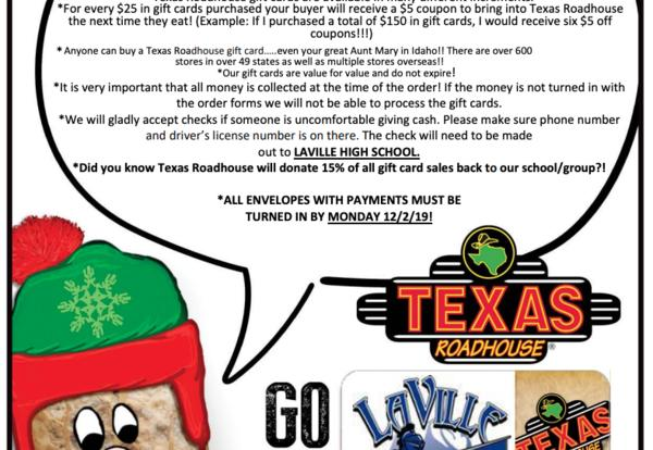 LaVille Cheer Texas Roadhouse Giveback December 16