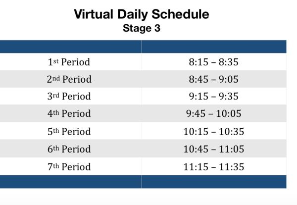Stage 3 Virtual Learning Schedule