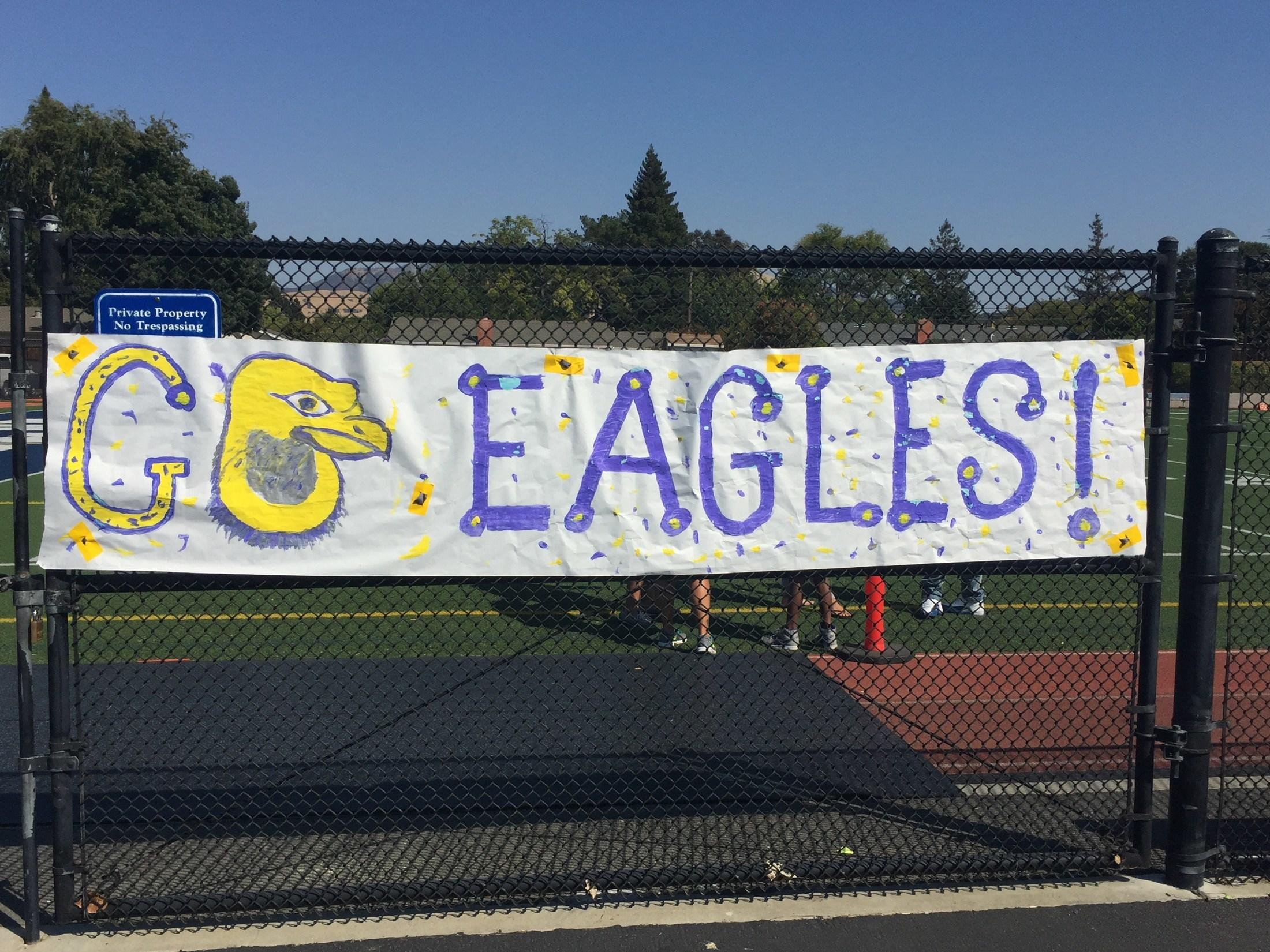 "Banner says ""Go Eagles!"""