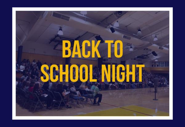Back to School Night - August 26th, 6:15 PM