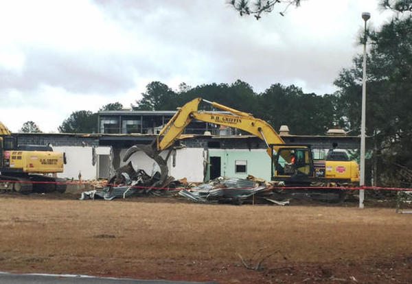 Demolition starts, making way for Polaris Tech Charter School in Ridgeland for August 2018.