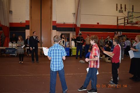 Student in gym during College Fair