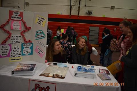 Students working the Friends of Rachel booth