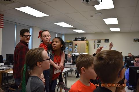 Students observing during special event