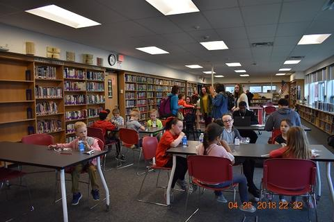 Candid photo of participants in library