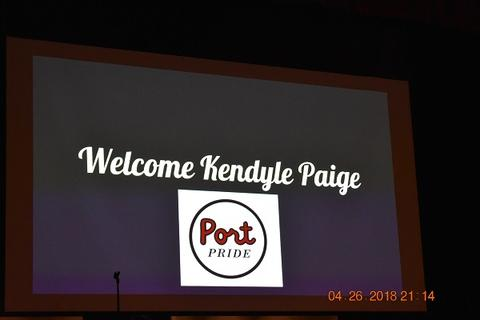 "Slide says ""Welcome Kendyle Paige, Port Pride"""