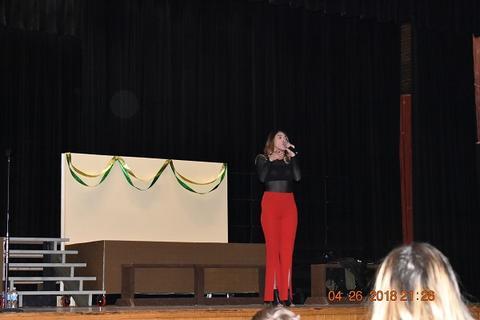 Singing on stage, Kendyle Page