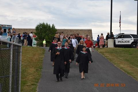 Commencement march begins toward field