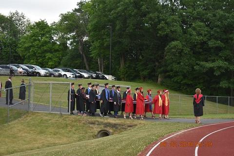 Distance shot of grads as they walk toward track