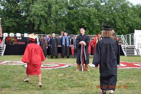 Grads walking toward place in center field