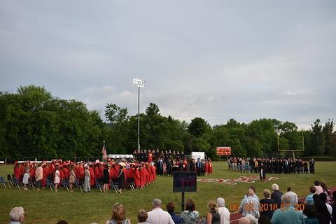 Part of the ceremony, long distance; grads are standing
