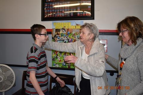 Mrs. Messinger Donates 1919 PJHS Pennant To The Port Jervis Middle School image for DSC 0286