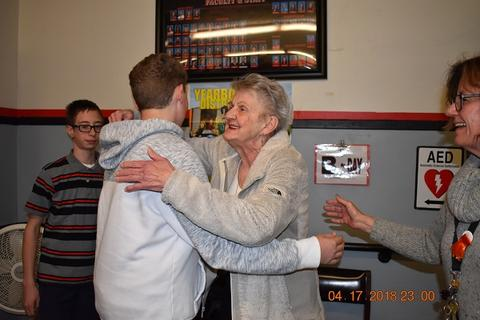 Mrs. Messinger Donates 1919 PJHS Pennant To The Port Jervis Middle School image for DSC 0287