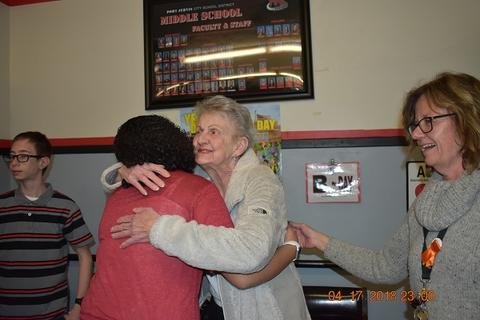 Mrs. Messinger Donates 1919 PJHS Pennant To The Port Jervis Middle School image for DSC 0288