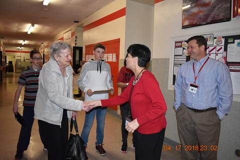 Mrs. Messinger Donates 1919 PJHS Pennant To The Port Jervis Middle School image for DSC 0291