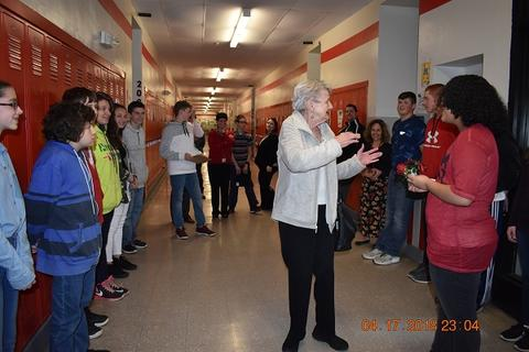 Mrs. Messinger Donates 1919 PJHS Pennant To The Port Jervis Middle School image for DSC 0296