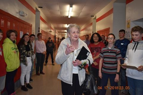 Mrs. Messinger Donates 1919 PJHS Pennant To The Port Jervis Middle School image for DSC 0299