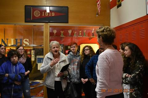 Mrs. Messinger Donates 1919 PJHS Pennant To The Port Jervis Middle School image for DSC 0305