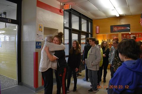 Mrs. Messinger Donates 1919 PJHS Pennant To The Port Jervis Middle School image for DSC 0308