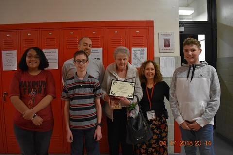 Mrs. Messinger Donates 1919 PJHS Pennant To The Port Jervis Middle School image for DSC 0310