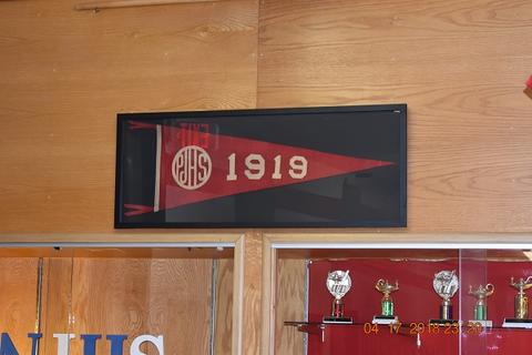 Mrs. Messinger Donates 1919 PJHS Pennant To The Port Jervis Middle School image for DSC 0311